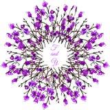传染媒介紫色水彩花卉框架 免版税库存图片