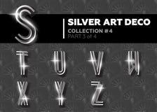 传染媒介艺术装饰字体 光亮的银色减速火箭的字母表 Gatsby Styl 免版税图库摄影