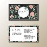 传染媒介花卉参观卡片模板 免版税库存照片