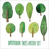 传染媒介花卉集合 五颜六色的树收藏,画的水彩 春天或夏天设计邀请、婚礼或者贺卡的 免版税库存图片