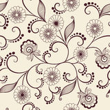 传染媒介花无缝的样式元素 背景的典雅的纹理 古典豪华古板的花饰 库存例证