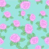 传染媒介花桃红色玫瑰无缝的样式 库存照片