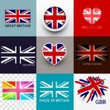 传染媒介英国国旗旗子汇集 免版税图库摄影