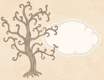 传染媒介苹果树和框架。邀请卡片模板设计 库存图片