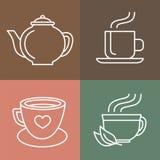 传染媒介茶和咖啡商标 免版税库存照片