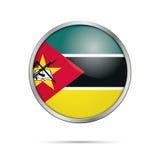 传染媒介莫桑比克旗子按钮 在玻璃按钮的莫桑比克旗子 免版税库存图片