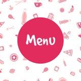 传染媒介菜单与食物象的盖子设计 免版税图库摄影