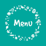 传染媒介菜单与食物象的盖子设计 库存照片
