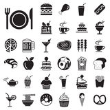 传染媒介菜单被设置的食物和饮料象 库存图片