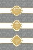 传染媒介葡萄酒汇集:巴洛克式和古色古香的框架、标签、象征和装饰设计元素 免版税库存照片