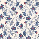 传染媒介葡萄酒花卉无缝的蓝色花 免版税库存图片
