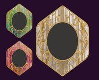 传染媒介葡萄酒金黄框架设计有五颜六色的背景 库存图片
