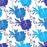 传染媒介蓝色东方和服牡丹无缝的样式 皇族释放例证