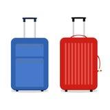 传染媒介蓝色和红色旅行袋子 在白色 库存照片