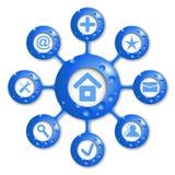 传染媒介蓝色圆的图 免版税库存照片