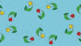 传染媒介蓝色手拉的郁金香无缝的样式 免版税库存照片