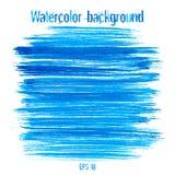 传染媒介蓝色抽象手拉的水彩背景 免版税库存照片
