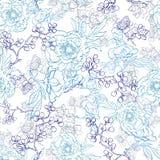 传染媒介蓝色日本花卉和服线艺术 库存例证