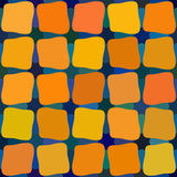 传染媒介蓝色橙黄颜色遮蔽无缝的被环绕的彩色玻璃正方形网格图形 免版税库存照片