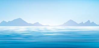 传染媒介蓝色海背景 免版税库存图片