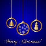 传染媒介蓝色装饰圣诞节贺卡 免版税库存图片
