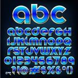 传染媒介蓝色金属字体 免版税图库摄影