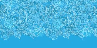 传染媒介蓝色领域花卉纹理水平的边界 免版税库存图片