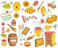 传染媒介蜂蜜元素乱画设置了与蜂箱,蜂农,花 免版税库存照片