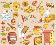 传染媒介蜂蜜元素乱画设置了与蜂箱,蜂农,花 图库摄影