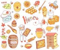 传染媒介蜂蜜元素乱画设置了与蜂箱,蜂农,花 免版税库存图片
