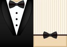 传染媒介蝶形领结无尾礼服邀请设计模板 库存照片