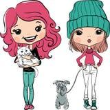 传染媒介行家时尚逗人喜爱的女孩机智宠物 向量例证