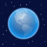 传染媒介被点刻的世界风格化地球 美国的看法 免版税库存照片