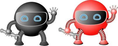 传染媒介被设置的机器人剪影 库存例证