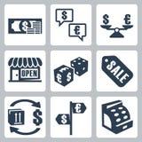 传染媒介被设置的金钱/购物象 免版税图库摄影