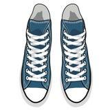 传染媒介被隔绝的动画片蓝色运动鞋 库存照片