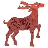 传染媒介装饰了与自然元素的鹿 库存例证