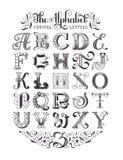 传染媒介装饰字母表 印刷海报 向量例证