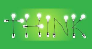 传染媒介认为概念创造性的电灯泡想法 免版税库存图片