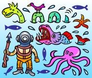 传染媒介讽刺画-尼斯湖妖怪、海星、海怪、轻潜水员、章鱼和一只小的鸟 免版税库存照片