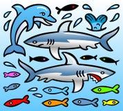 传染媒介讽刺画-海豚、鲨鱼和鱼 库存图片
