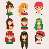 传染媒介设置与可爱的rastafarian女孩字符 用不同的发型、颜色和辅助部件的头 库存图片