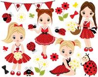 传染媒介设置与逗人喜爱的小女孩、瓢虫、花和旗布 库存例证