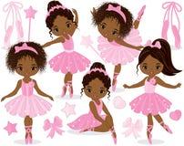 传染媒介设置与逗人喜爱的矮小的非裔美国人的芭蕾舞女演员 向量例证