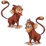 传染媒介设置与猴子情感面孔 逗人喜爱的小的猴子 免版税图库摄影