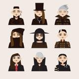 传染媒介设置了与哥特式人的具体化帽子的,有黑发的并且上色了目镜 在背景隔绝的不同的年轻人 免版税库存图片