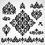 传染媒介设置了与在维多利亚女王时代的样式的古典装饰品 免版税库存照片