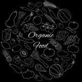 传染媒介设置了用白色概述水果、蔬菜和莓果在黑色 免版税库存图片