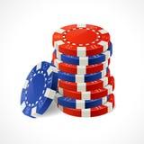 传染媒介赌博娱乐场芯片堆 免版税库存照片