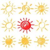 传染媒介轮廓色_太阳集合 库存图片